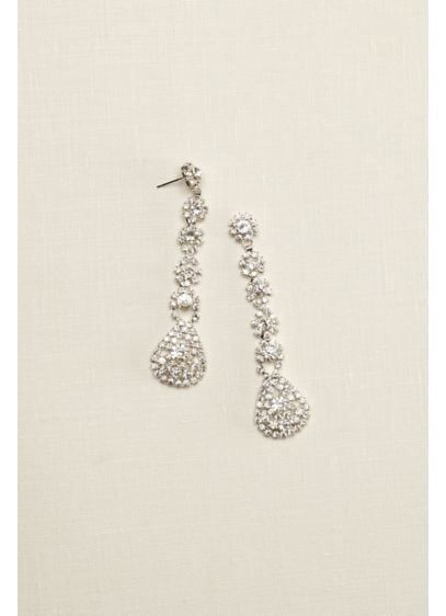 Long Flower Crystal Earrings