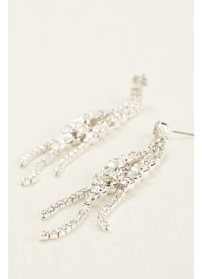 Solitaire Crystal Cluster Fringe Earrings - Wedding Accessories
