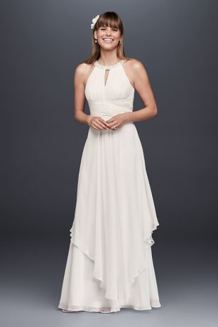 David's Bridal White Chiffon Maxi Dress