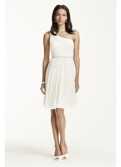 One Shoulder Chiffon Dress With Pearl Detail Ej4m7275 Short A Line Casual Wedding Db Studio