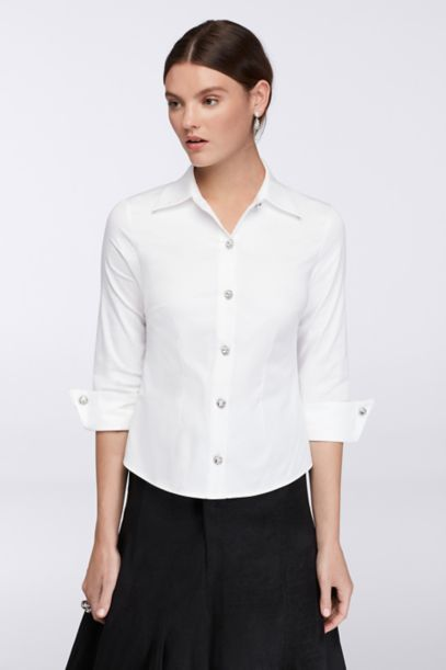 Collared 3 4 Sleeve Blouse With Rhinestone Buttons David S Bridal