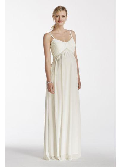 4fec470404290 Chiffon A-line Maternity Dress with Pearl Waist | David's Bridal