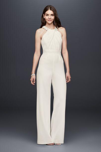 Crepe Wide Leg Jumpsuit With Crystal Neckline Davids Bridal