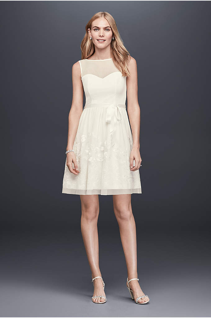 Illusion Bodice Short A-Line Dress with Embroidery - Perfect for a bridal brunch, engagement dinner, or