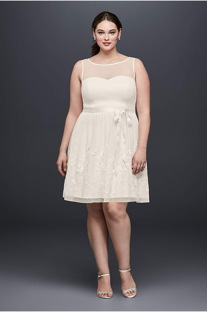 Illusion Bodice Plus Size Dress with Embroidery - Perfect for a bridal brunch, engagement dinner, or