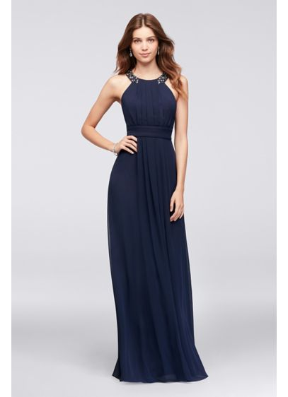 feecedbacf7 Chiffon Long Bridesmaid Dress with Beaded Neckline