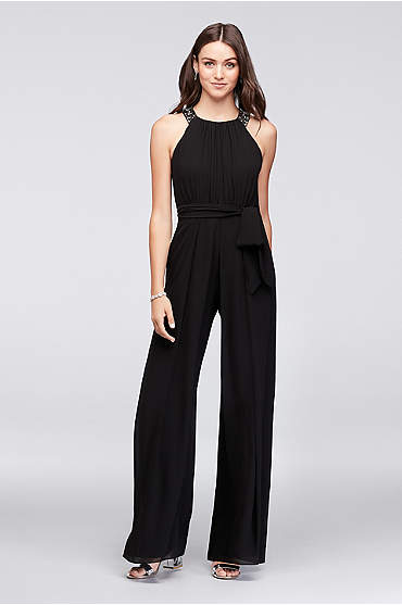 Chiffon Bridesmaid Jumpsuit with Beaded Neckline