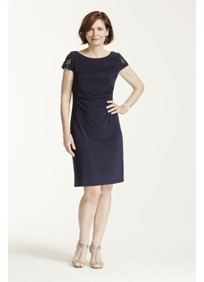 Short Sheath Cap Sleeves Cocktail and Party Dress - Eliza J