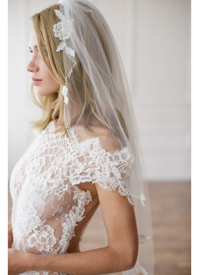 Alencon Lace Appliqued Veil - Wedding Accessories