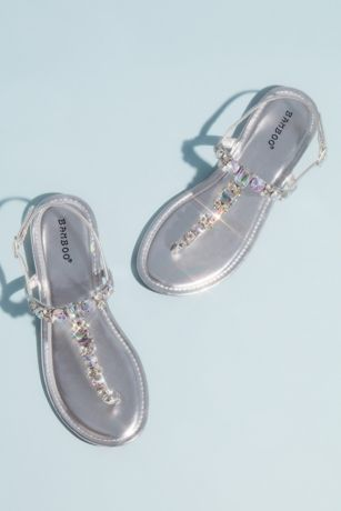 Bamboo Grey Flat Sandals (Faceted Crystal Metallic T-Strap Sandals)