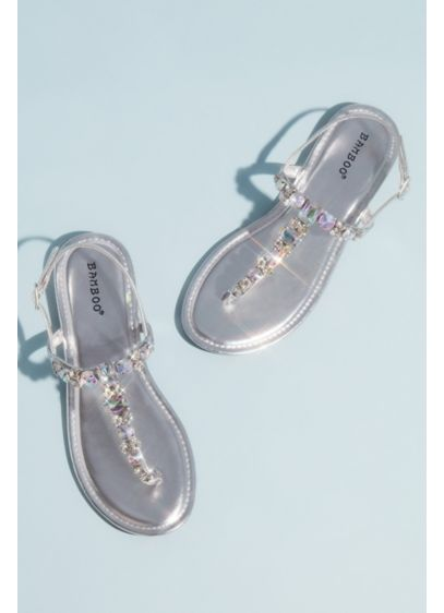 Faceted Crystal Metallic T-Strap Sandals - Trimmed along the T-strap in faceted crystals, this