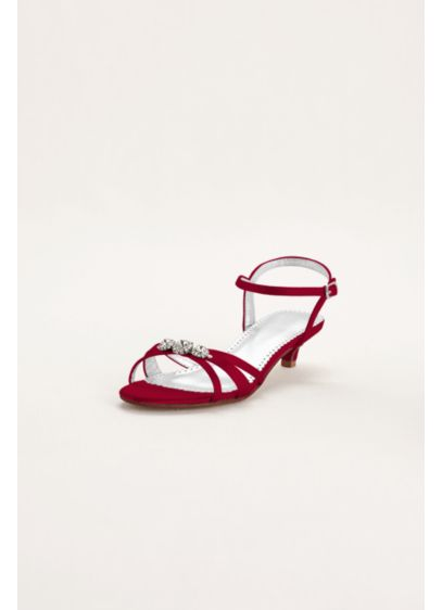 David's Bridal Red (Dyeable Satin Low Heel Sandal with Rhinestones)