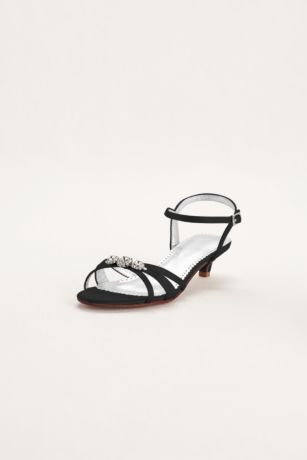 David's Bridal Black;Blue;Grey;Ivory;Pink;Purple;Red;White Sandals (Dyeable Satin Low Heel Sandal with Rhinestones)
