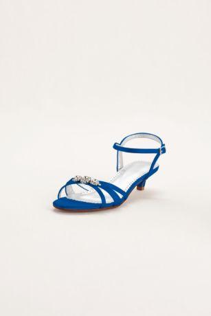 David's Bridal Black;Blue;Grey;Ivory;Pink;Purple;Red;White Sandals (Dyeable Satin Low Heel Sandal with Rhinestones)