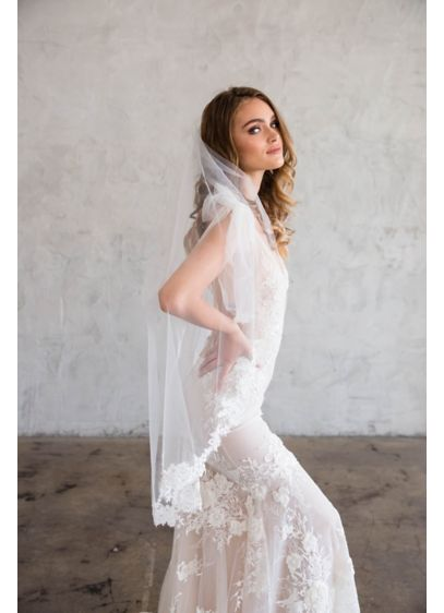 Floral Lace Silk Tulle Fingertip Veil - Delicate hand-sewn floral lace begins halfway down this