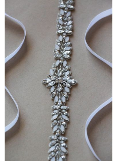 Handmade Opal and Swarovski Crystal Sash - Embellished with sparkling Swarovski crystals and opals, this