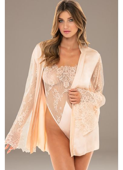 Satin and Lace Robe with Matching Lace Teddy - Wedding Accessories