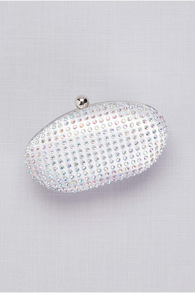 Dyeable Satin Crystal-Encrusted Minaudiere - Glitzy iridescent crystals catch the light on this