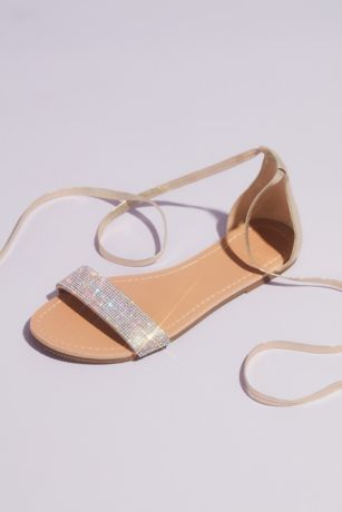 David's Bridal Grey;Yellow Flat Sandals (Metallic Strappy Micro Crystal Flat Sandals)