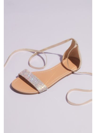 Grey (Metallic Strappy Micro Crystal Flat Sandals)