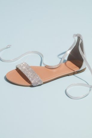 Grey;Yellow Flat Sandals (Metallic Strappy Micro Crystal Flat Sandals)