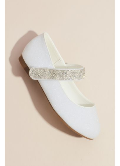 Girls Round Toe Mary Janes with Crystal Strap - The classic girls Mary Jane style gets a