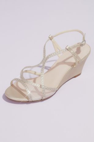 Benjamin Walk Grey;Ivory (Crystal Trimmed Wedge Sandals with Clear Mesh)