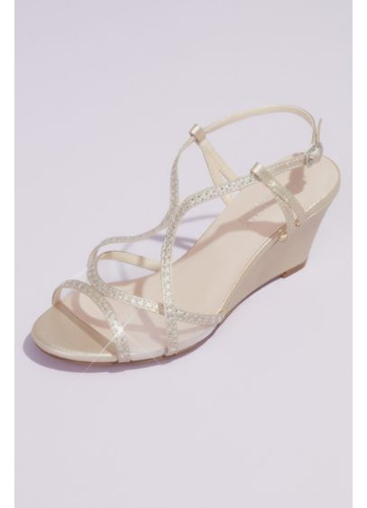 Crystal Trimmed Wedge Sandals with Clear Mesh - Clear mesh panels and shimmery crystals add a