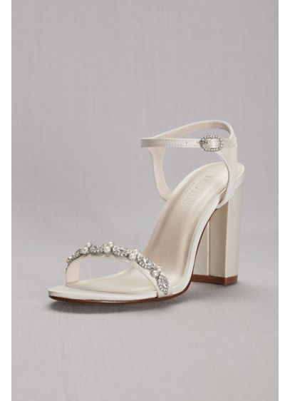 David s Bridal Ivory (Embellished Satin Block Heel Sandals)