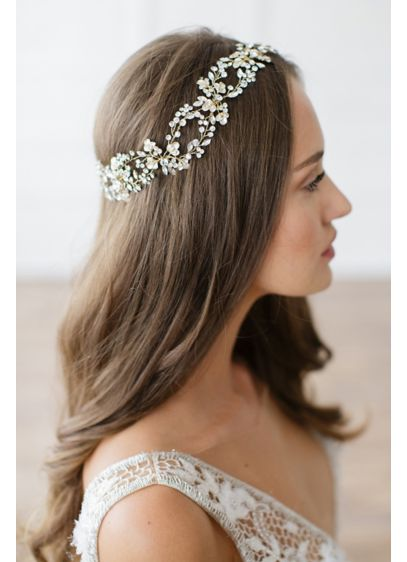 Crystal Navette Infinity Halo with Ribbon Tie - Wedding Accessories
