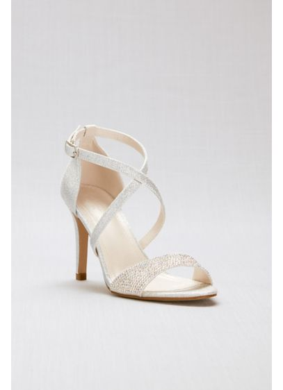David's Bridal Grey (Crisscross Strappy Glitter Heels with Crystal Toe)