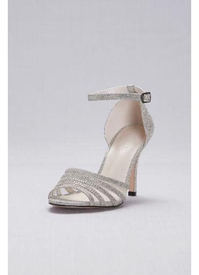 David's Bridal Grey (Glitter and Crystal High Heel Sandal)