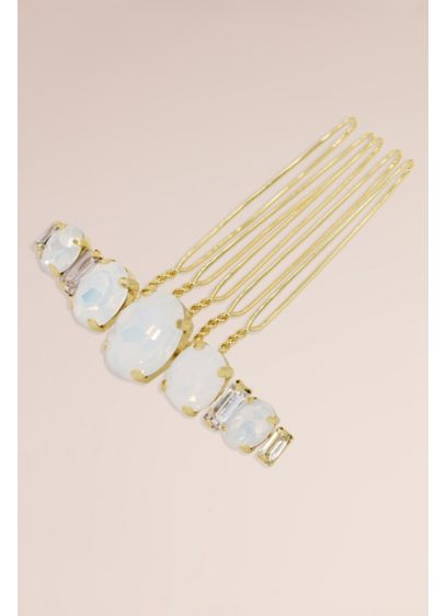 Graduated Genuine Opal and Crystal Baguette Comb - Wedding Accessories