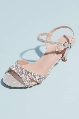 Sandalias de Tacón Bajo con Tiras de Cristal