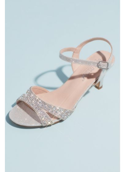 Allover Crystal Quarter-Strap Low Heels - Add sparkle to your look in these pave