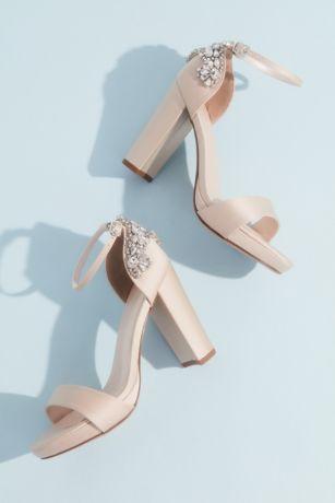 Galina Signature Ivory Heeled Sandals (Crystal Embellished Satin Platform Heels)