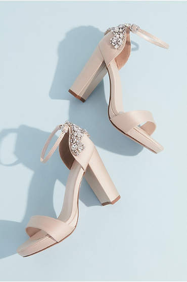 Crystal Embellished Satin Platform Heels
