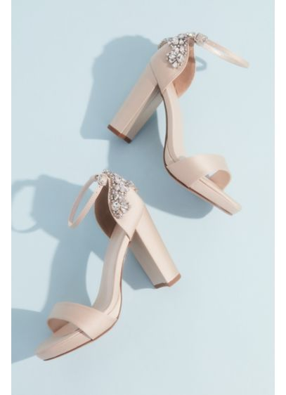 Crystal Embellished Satin Platform Heels - Sparkle with every step in these elegant satin