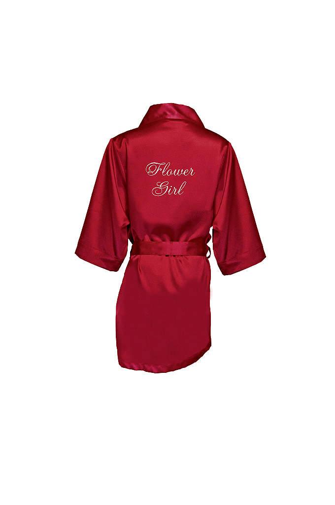 Embroidered Flower Girl Satin Robe - This adorable satin flower girl robe will make