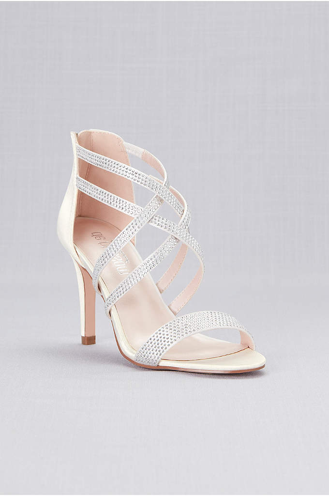 Double Crisscross Crystal Detailed Satin Heels - Nothing is quite as show-stopping as a pair