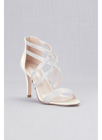 Blossom Ivory (Double Crisscross Crystal Detailed Satin Heels)