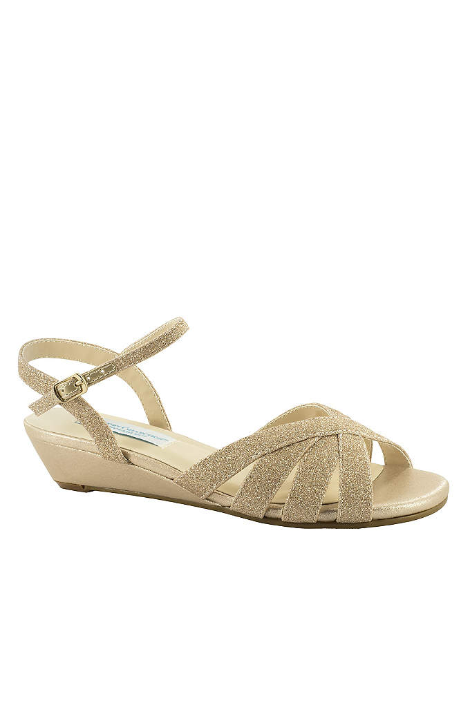 Low Glitter Wedges with Memory Foam Insole - Get ready to dance all night: memory foam