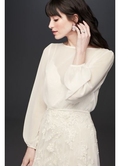 Flowy Chiffon LongSleeve Wedding Dress Topper - Perfect for the boho bride, this billowing, sheer
