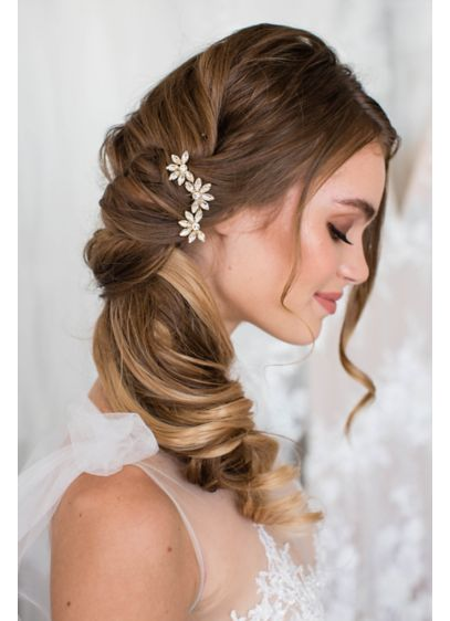 Brides and Hairpins Yellow (Triple Flower Swarovski Crystal Comb)
