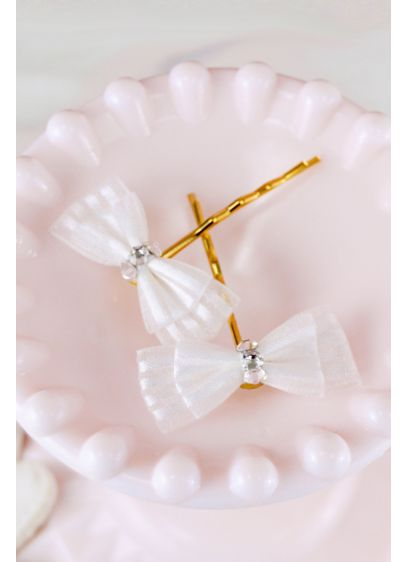 Handmade Swarovski Crystal Bow Hair Pin Set - Tiny handmade ribbon bows, detailed with glittery Swarovski