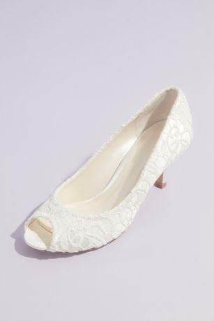Pink Paradox Beige;Blue;Ivory Peep Toe Shoes (Guipure Lace and Satin Peep-Toe Pumps)