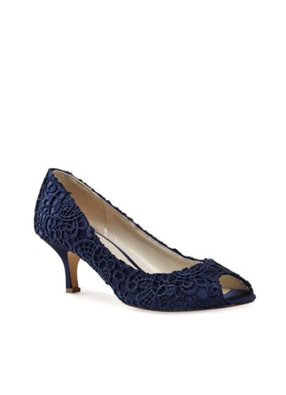 Guipure Lace and Satin Peep-Toe Pumps - A guipure lace overlay gives these low-heel satin
