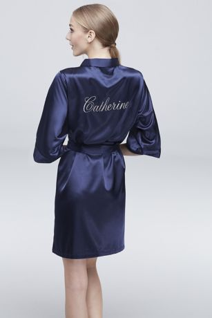 Personalized Embroidered Name Satin Robe | David's Bridal | Tuggl