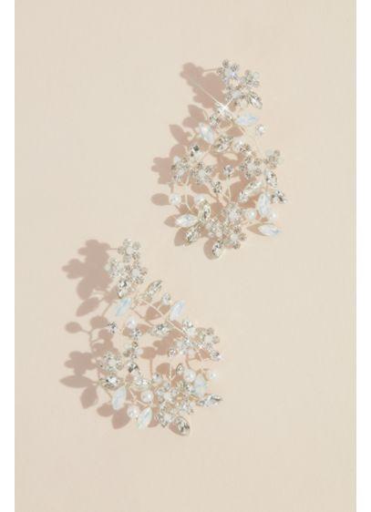 Wired Crystal Flower Wreath Earrings - Wedding Accessories