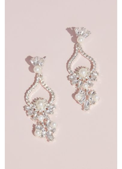 David's Bridal Grey (Pearl and Crystal Floral Teardrop Earrings)